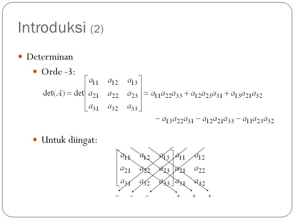 Introduksi (2) Determinan Orde -3: Untuk diingat: – – – + + +