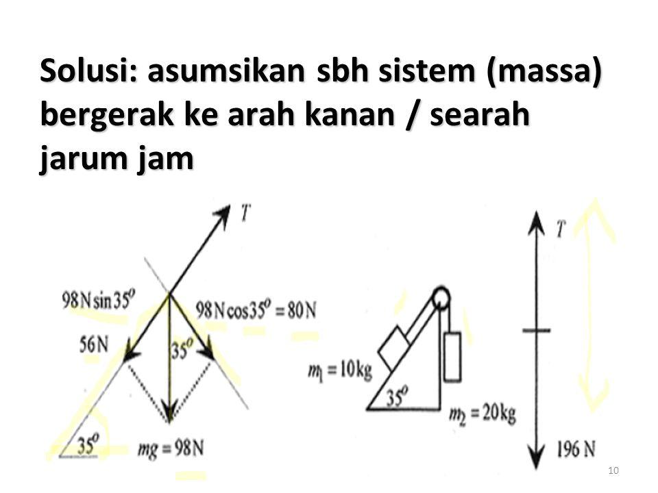 Solusi: asumsikan sbh sistem (massa) bergerak ke arah kanan / searah jarum jam