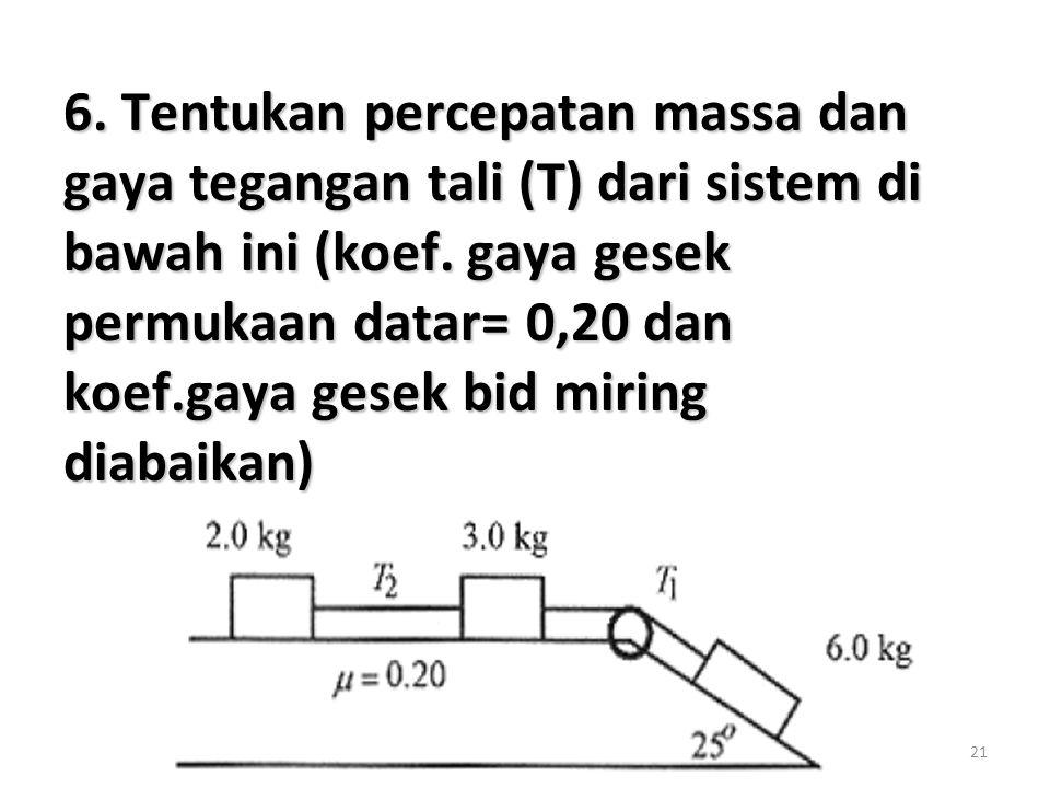 6. Tentukan percepatan massa dan gaya tegangan tali (T) dari sistem di bawah ini (koef.