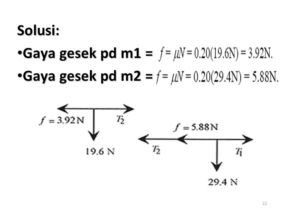 Solusi: Gaya gesek pd m1 = Gaya gesek pd m2 =