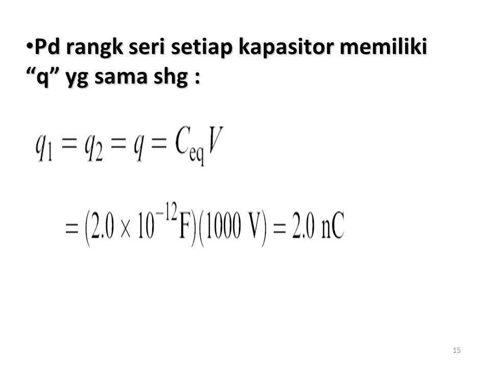 Pd rangk seri setiap kapasitor memiliki q yg sama shg :