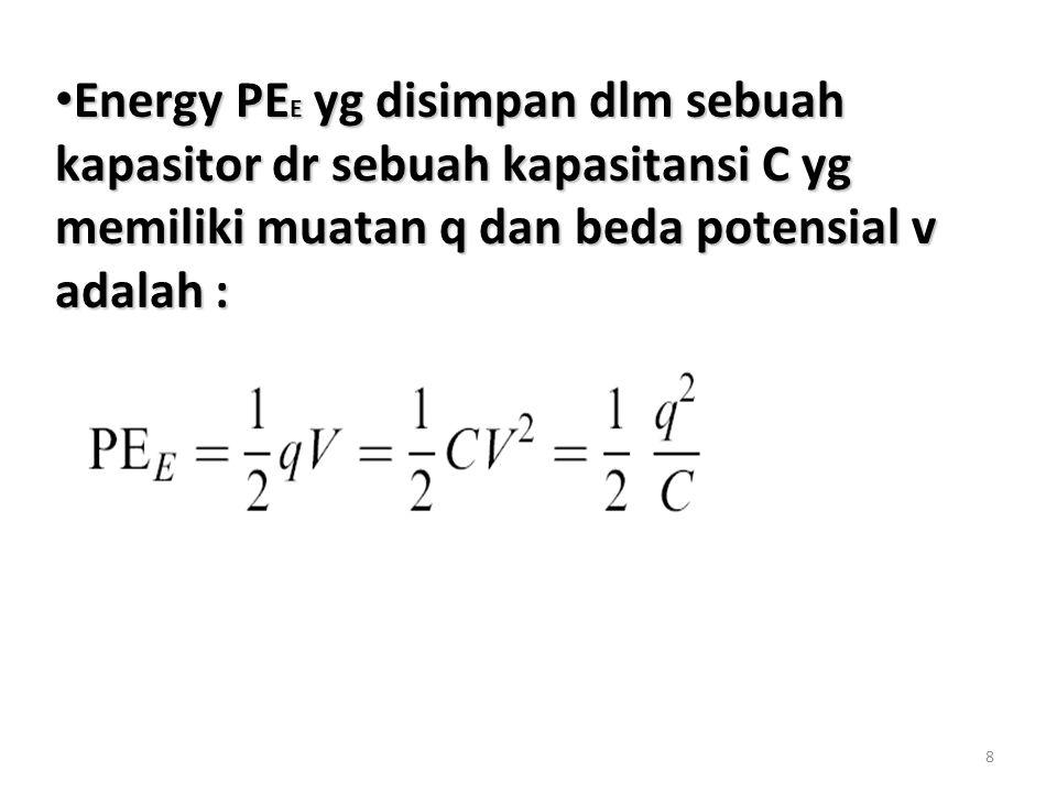 Energy PEE yg disimpan dlm sebuah kapasitor dr sebuah kapasitansi C yg memiliki muatan q dan beda potensial v adalah :