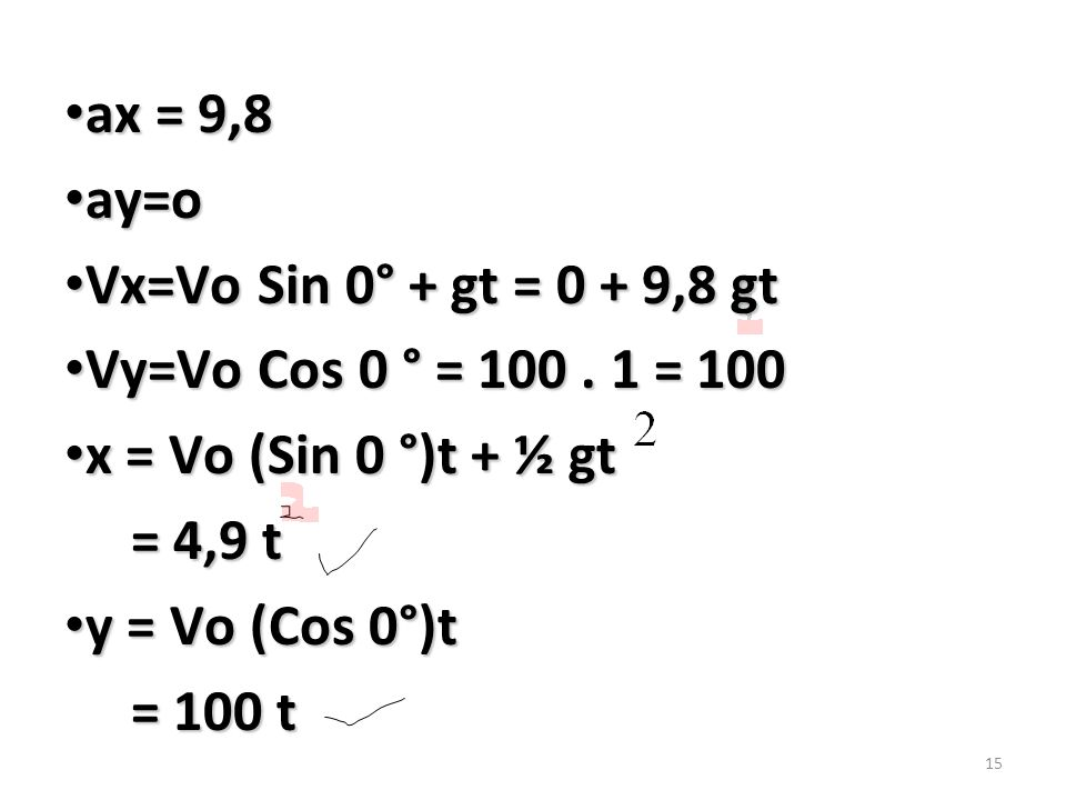 ax = 9,8 ay=o. Vx=Vo Sin 0° + gt = 0 + 9,8 gt. Vy=Vo Cos 0 ° = 100 . 1 = 100. x = Vo (Sin 0 °)t + ½ gt.