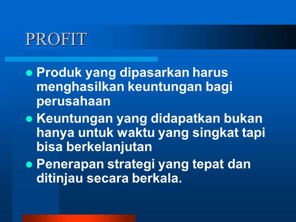 PROFIT Produk yang dipasarkan harus menghasilkan keuntungan bagi perusahaan.