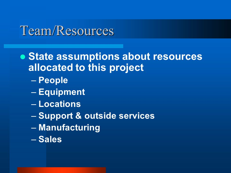 Team/Resources State assumptions about resources allocated to this project. People. Equipment. Locations.