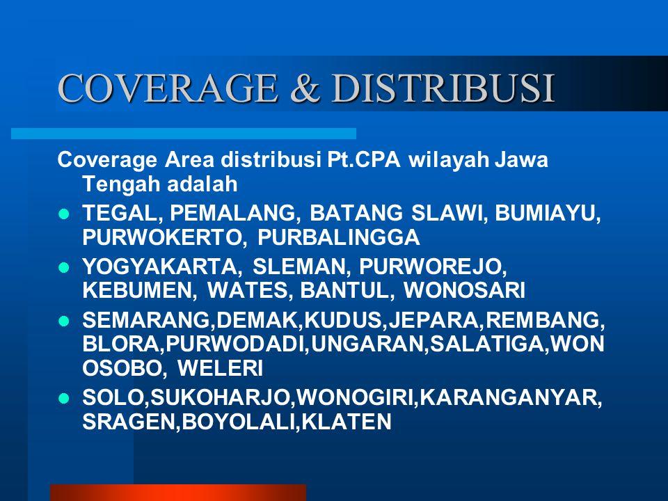 COVERAGE & DISTRIBUSI Coverage Area distribusi Pt.CPA wilayah Jawa Tengah adalah. TEGAL, PEMALANG, BATANG SLAWI, BUMIAYU, PURWOKERTO, PURBALINGGA.