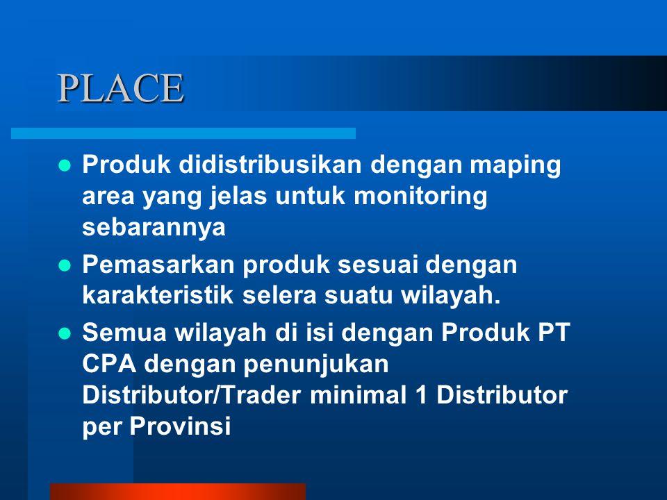PLACE Produk didistribusikan dengan maping area yang jelas untuk monitoring sebarannya.