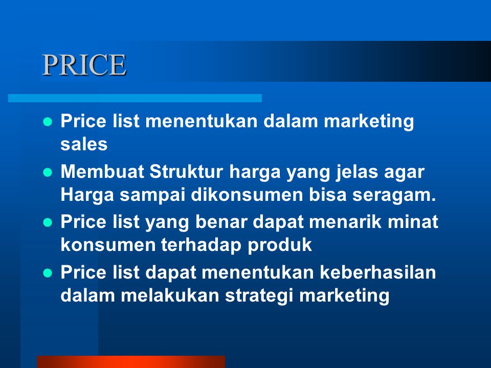 PRICE Price list menentukan dalam marketing sales