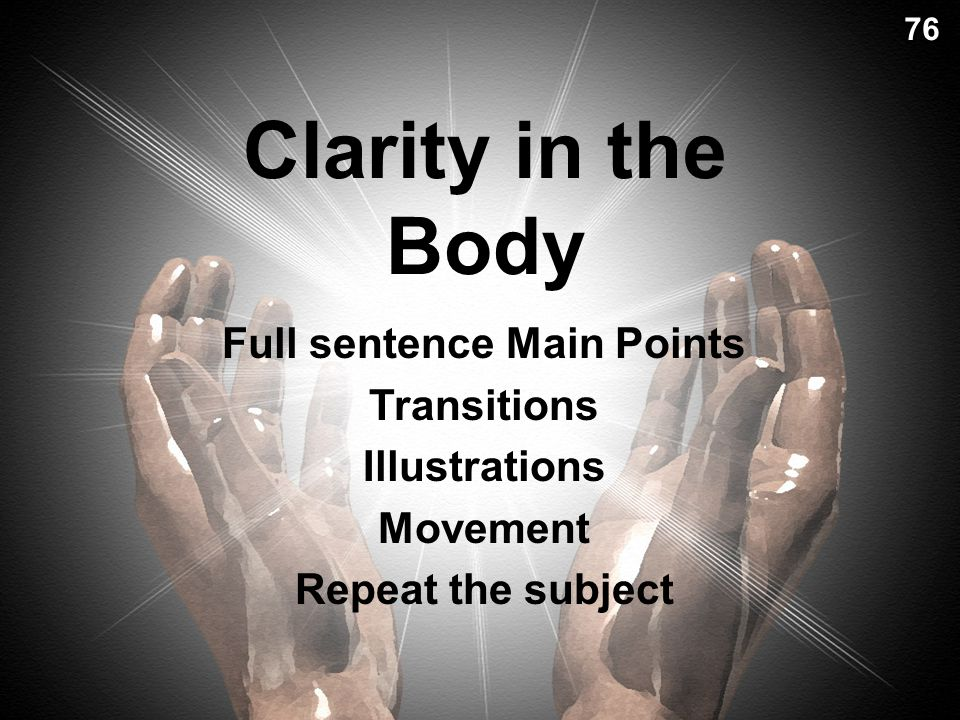 Clarity in the Body Full sentence Main Points Transitions