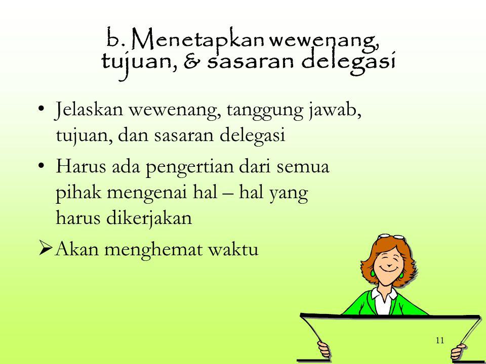 b. Menetapkan wewenang, tujuan, & sasaran delegasi