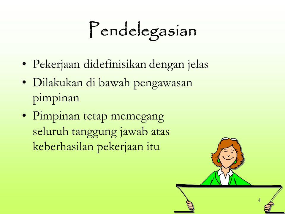 Pendelegasian Pekerjaan didefinisikan dengan jelas