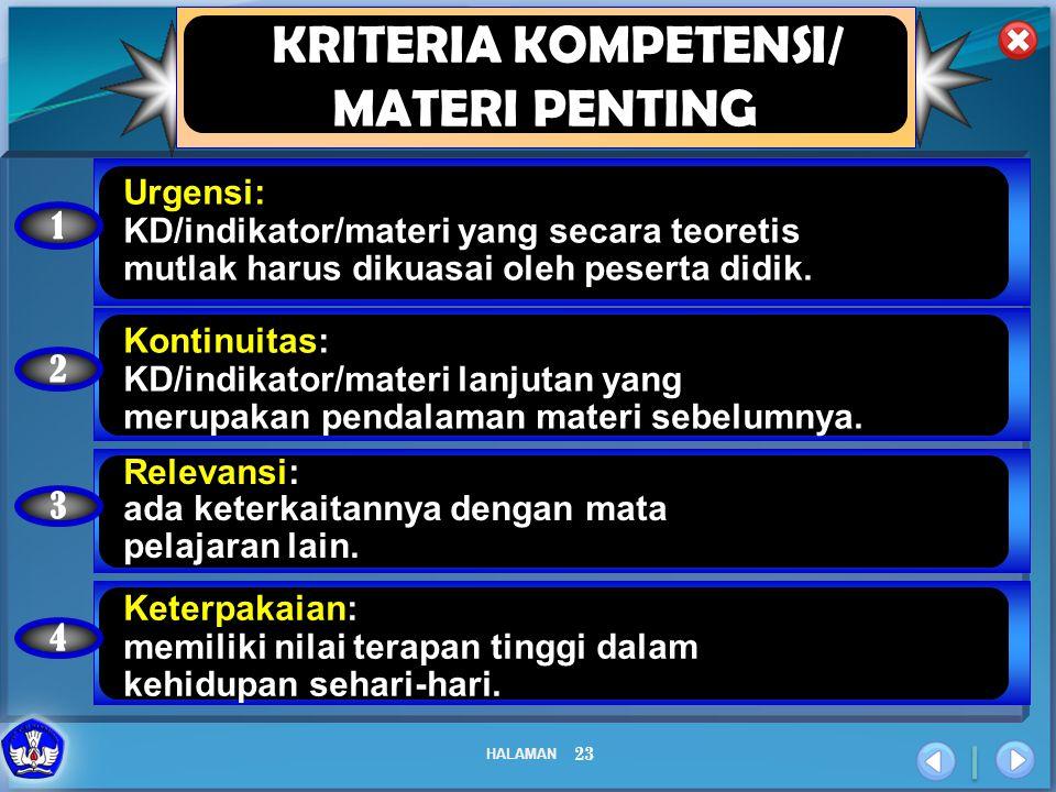 KRITERIA KOMPETENSI/ MATERI PENTING Urgensi: