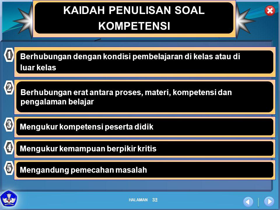KAIDAH PENULISAN SOAL KOMPETENSI 1 2 3 4 5