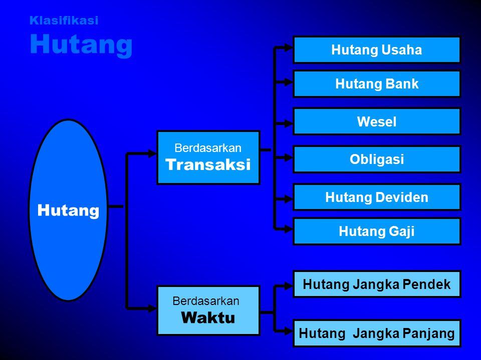 Transaksi Hutang Waktu Hutang Usaha Hutang Bank Wesel Obligasi