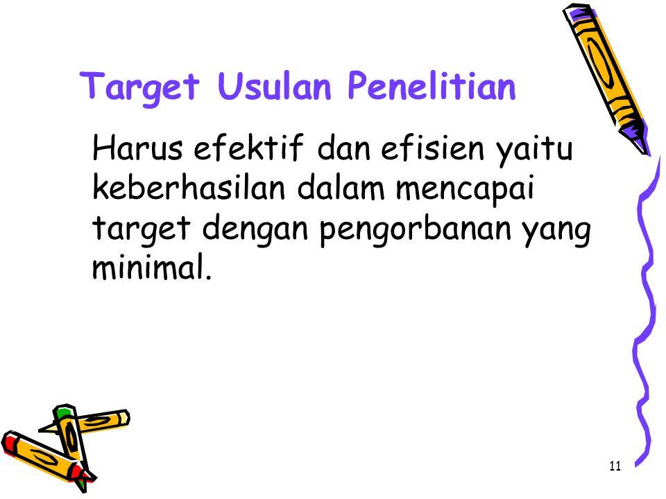 Target Usulan Penelitian