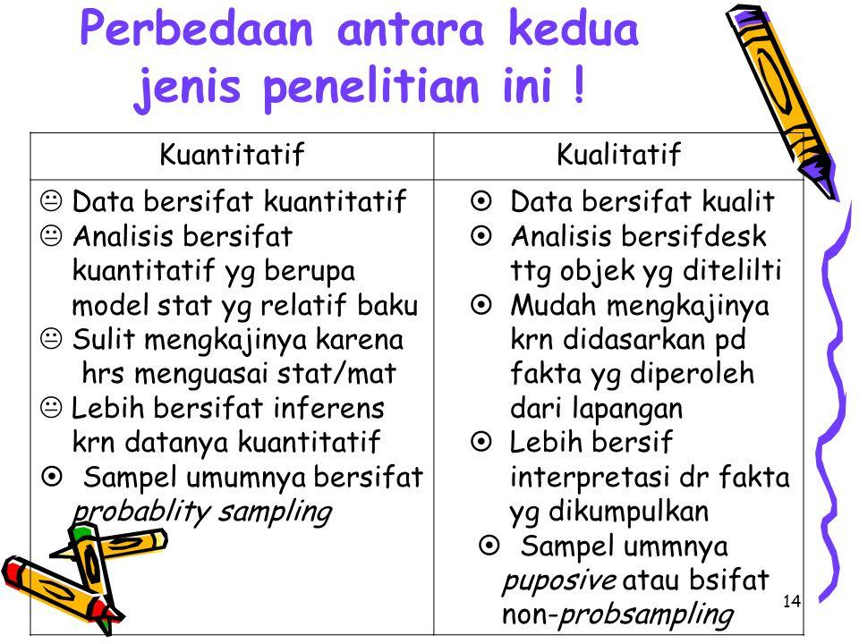 Perbedaan antara kedua jenis penelitian ini !