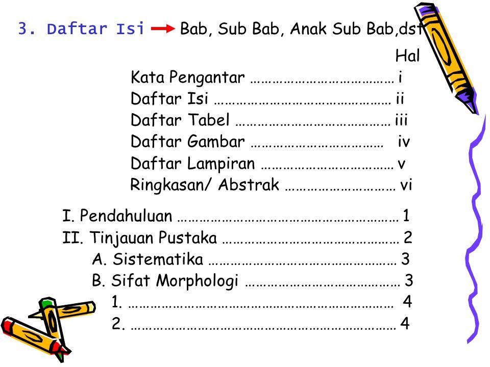 3. Daftar Isi Bab, Sub Bab, Anak Sub Bab,dst