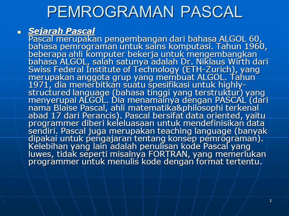 PEMROGRAMAN PASCAL