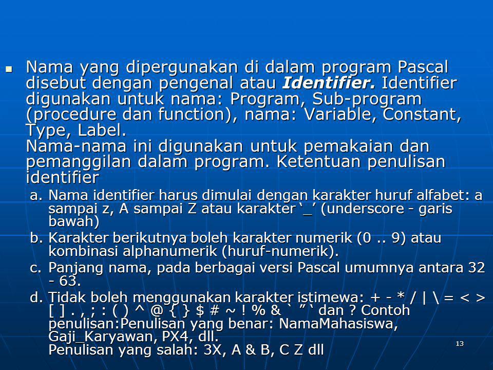 Nama yang dipergunakan di dalam program Pascal disebut dengan pengenal atau Identifier. Identifier digunakan untuk nama: Program, Sub-program (procedure dan function), nama: Variable, Constant, Type, Label. Nama-nama ini digunakan untuk pemakaian dan pemanggilan dalam program. Ketentuan penulisan identifier