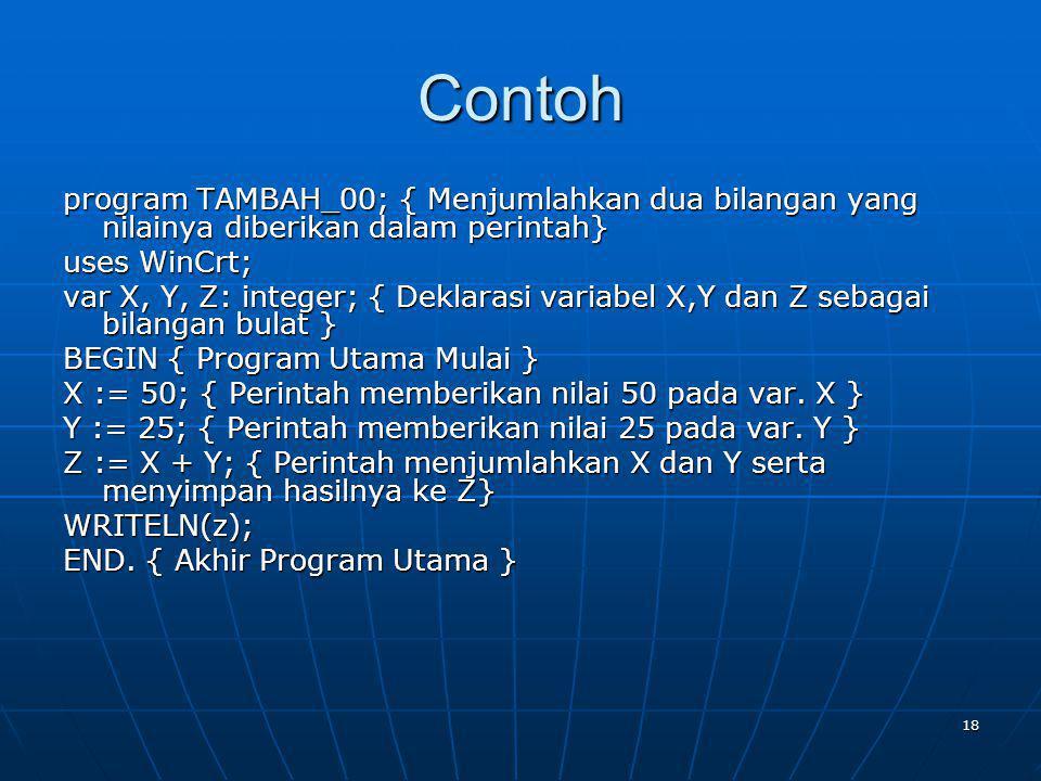 Contoh program TAMBAH_00; { Menjumlahkan dua bilangan yang nilainya diberikan dalam perintah} uses WinCrt;