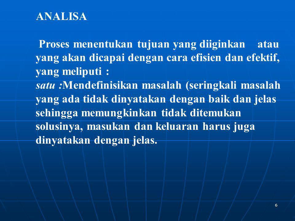ANALISA Proses menentukan tujuan yang diiginkan atau yang akan dicapai dengan cara efisien dan efektif, yang meliputi :