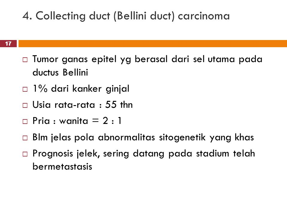 4. Collecting duct (Bellini duct) carcinoma