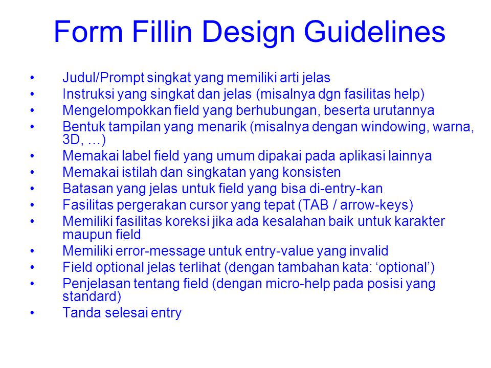 Form Fillin Design Guidelines