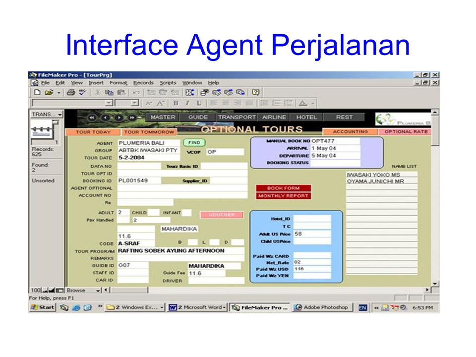 Interface Agent Perjalanan