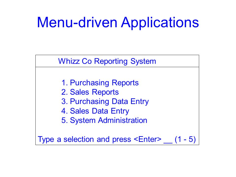 Menu-driven Applications