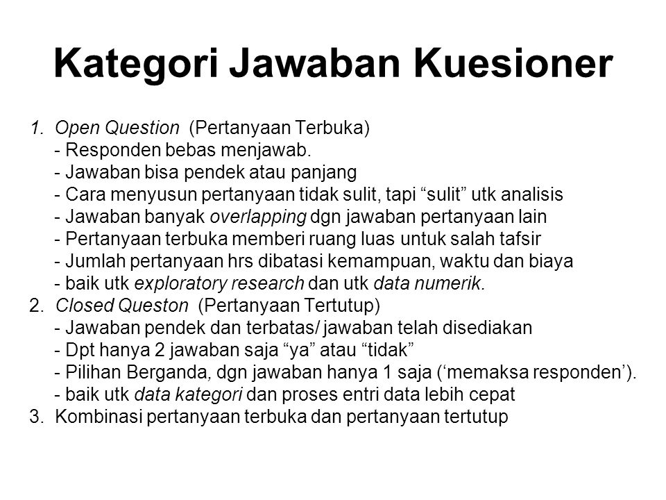 Kategori Jawaban Kuesioner