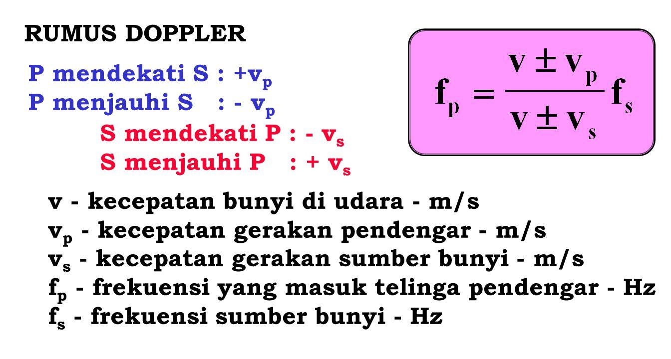 RUMUS DOPPLER P mendekati S : +vp. P menjauhi S : - vp. S mendekati P : - vs. S menjauhi P : + vs.