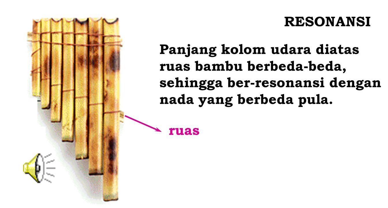 RESONANSI Panjang kolom udara diatas. ruas bambu berbeda-beda, sehingga ber-resonansi dengan. nada yang berbeda pula.