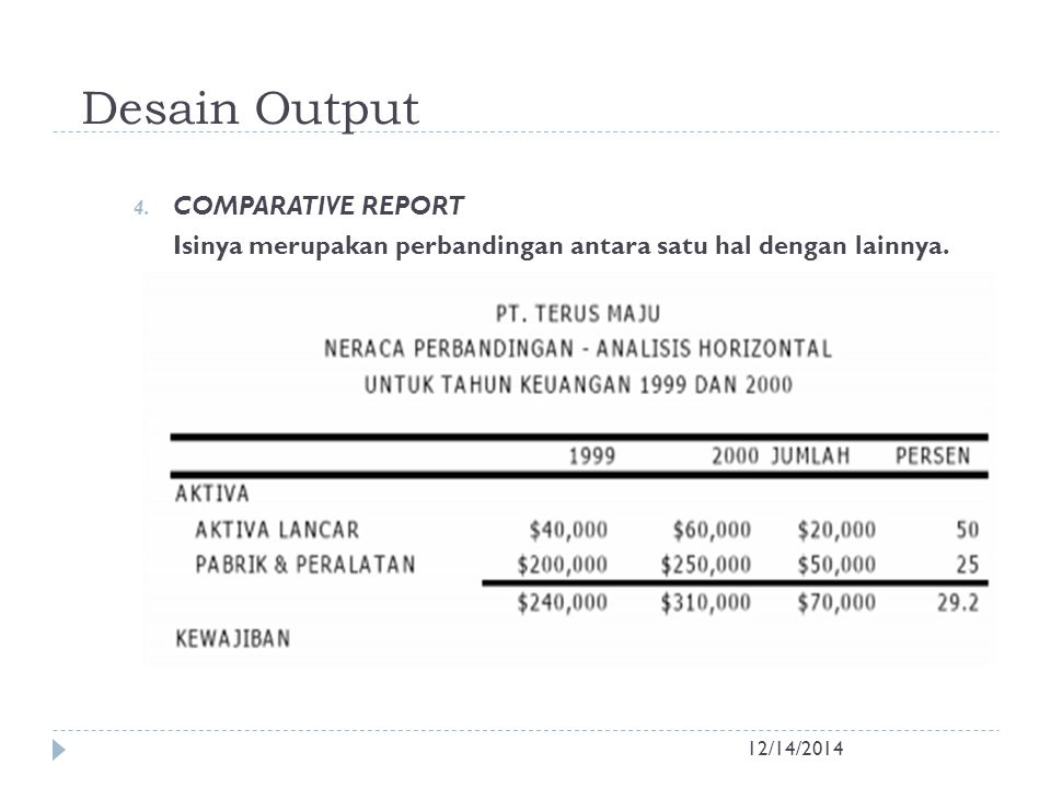 Desain Output COMPARATIVE REPORT