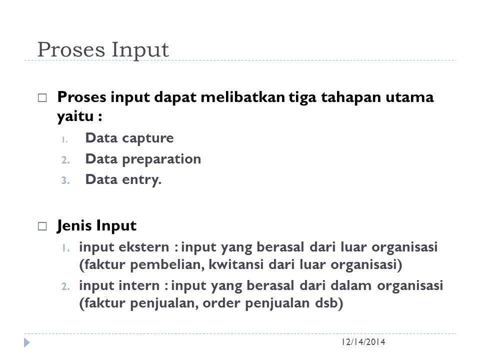 Proses Input Proses input dapat melibatkan tiga tahapan utama yaitu :