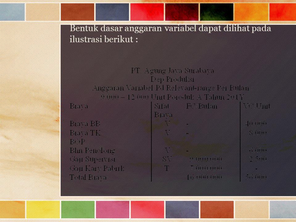 Bentuk dasar anggaran variabel dapat dilihat pada ilustrasi berikut :
