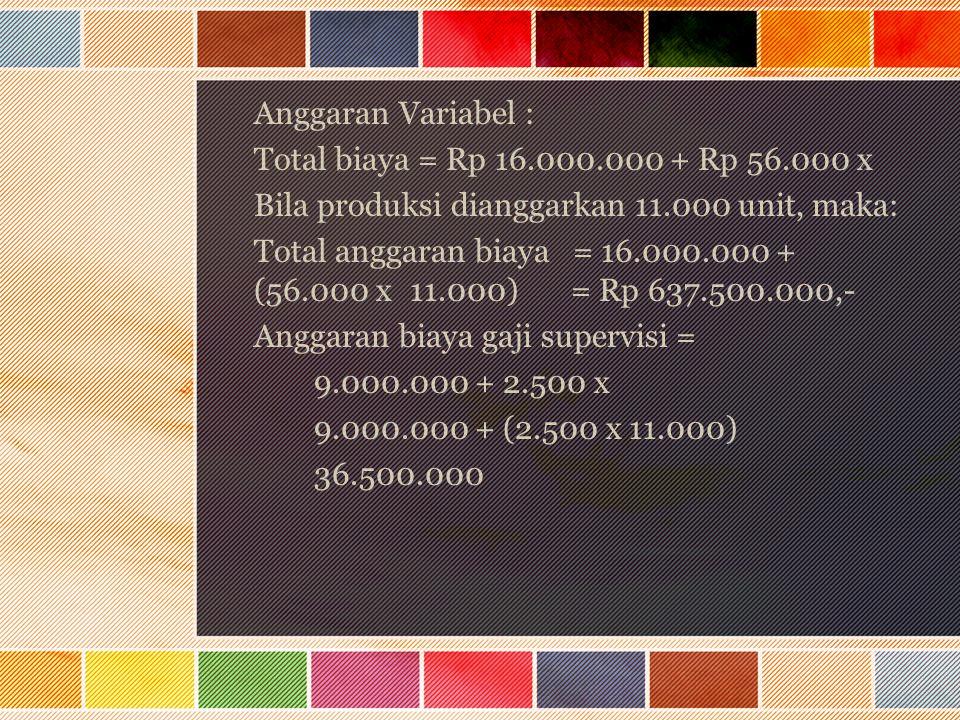 Anggaran Variabel : Total biaya = Rp 16.000.000 + Rp 56.000 x. Bila produksi dianggarkan 11.000 unit, maka: