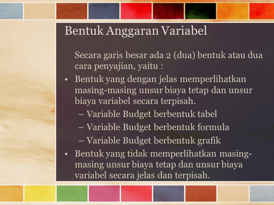 Bentuk Anggaran Variabel