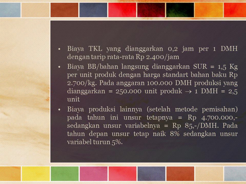 Biaya TKL yang dianggarkan 0,2 jam per 1 DMH dengan tarip rata-rata Rp 2.400/jam