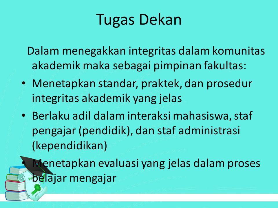 Tugas Dekan Dalam menegakkan integritas dalam komunitas akademik maka sebagai pimpinan fakultas: