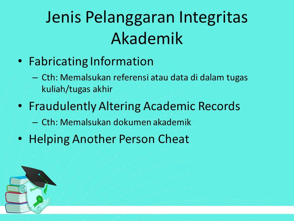 Jenis Pelanggaran Integritas Akademik