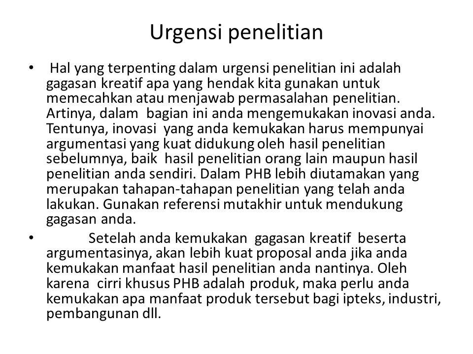 Urgensi penelitian