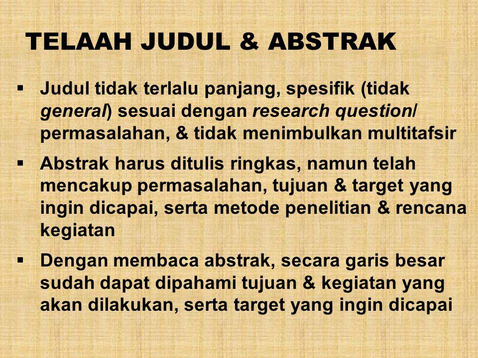 TELAAH JUDUL & ABSTRAK