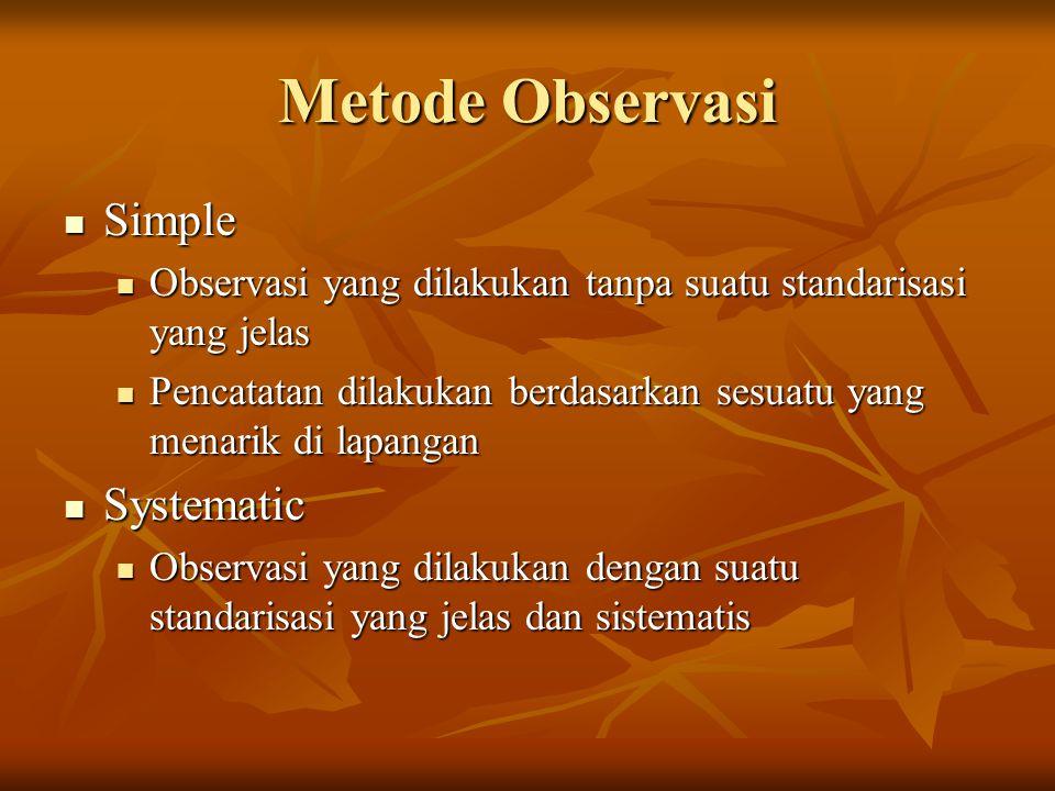Metode Observasi Simple Systematic