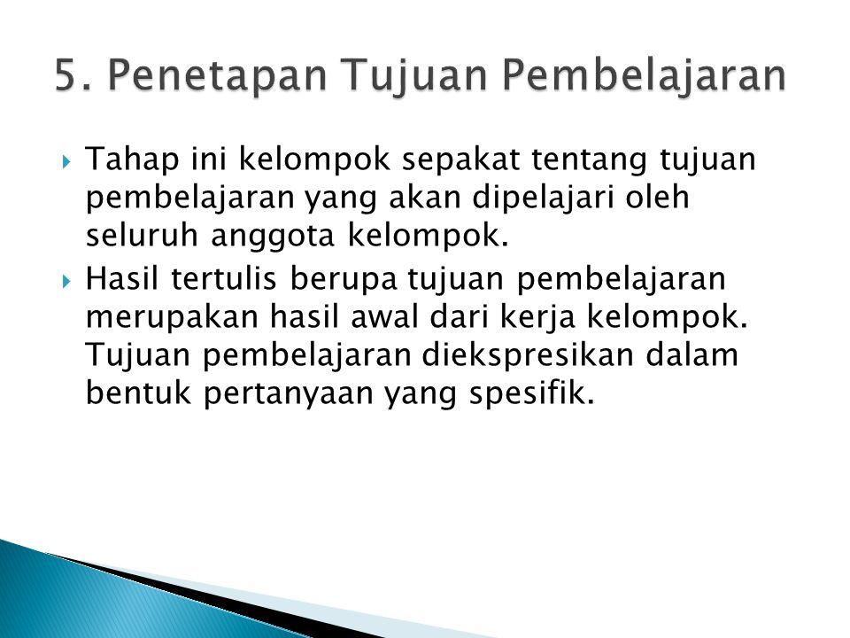 5. Penetapan Tujuan Pembelajaran