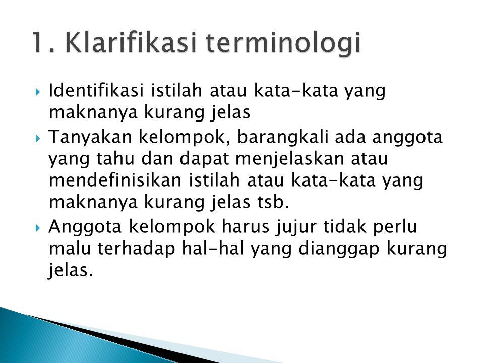 1. Klarifikasi terminologi