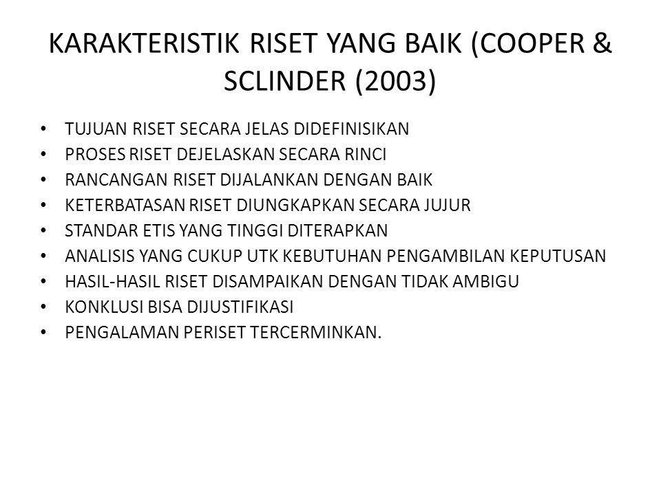 KARAKTERISTIK RISET YANG BAIK (COOPER & SCLINDER (2003)