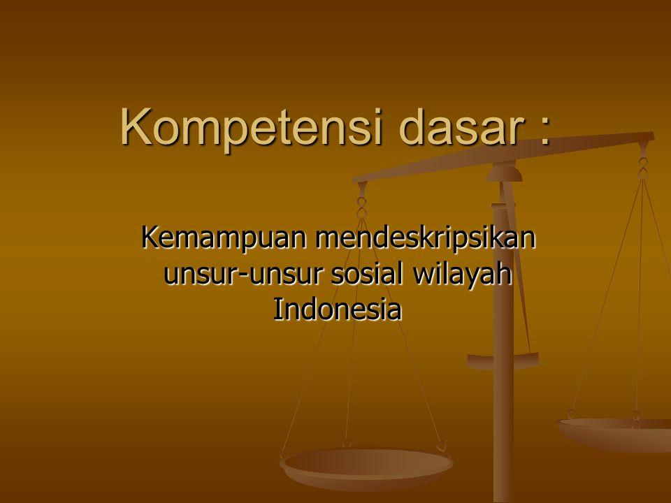 Kemampuan mendeskripsikan unsur-unsur sosial wilayah Indonesia