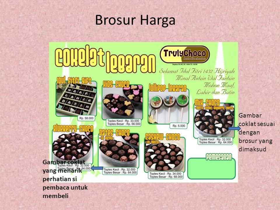 Brosur Harga Gambar coklat sesuai dengan brosur yang dimaksud