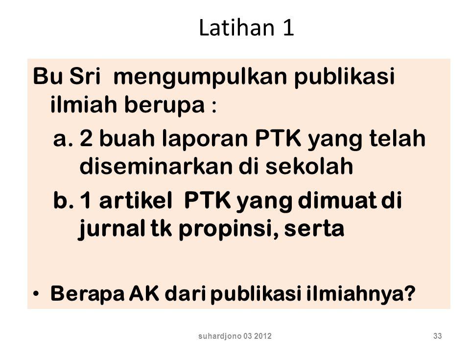 Latihan 1 Bu Sri mengumpulkan publikasi ilmiah berupa :