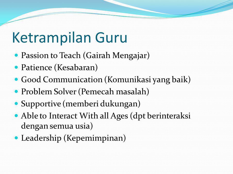 Ketrampilan Guru Passion to Teach (Gairah Mengajar)